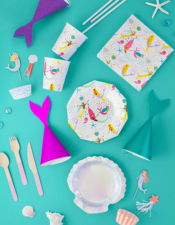 Mermaid themed party Tableware and party hats