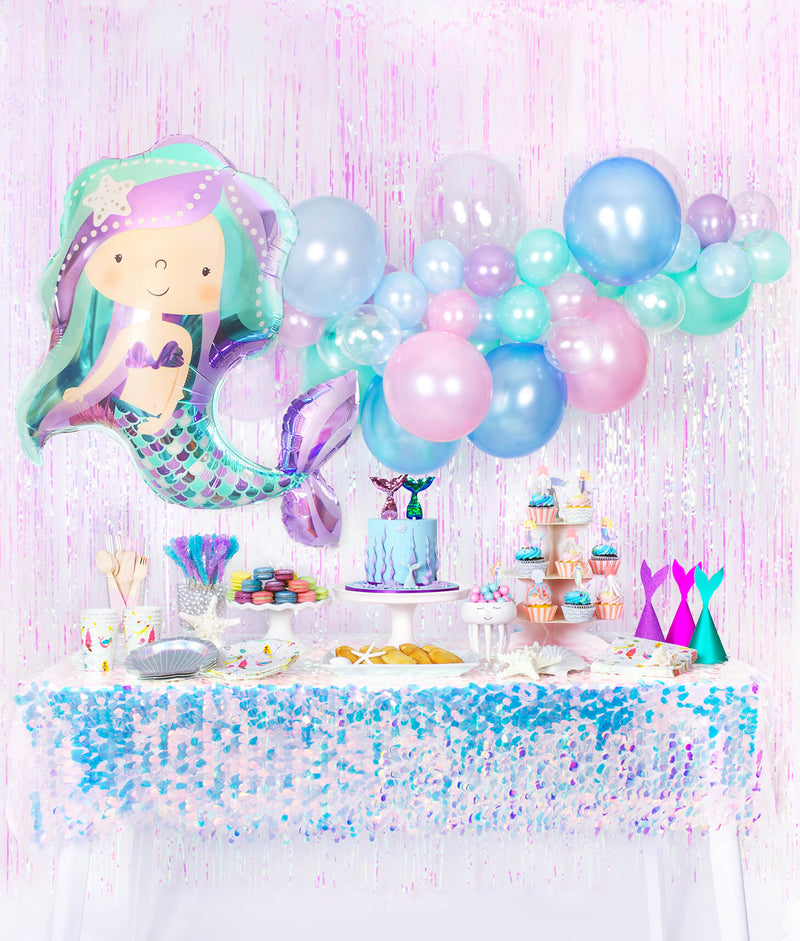 Girls Mermaid birthday party Table Set up look, Decorations and inspiration