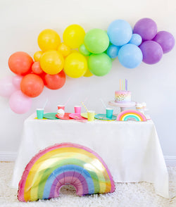 Momo party in a box, Rainbow Morden Party tablewares, Party Supplies, Party inspiration, box included Oh happy Day Large Rainbow Plate Set, Oh happy day Rainbow Plates, Rainbow Cup Set, My minds Eye's Hip Hip Hooray Fringe Small Napkins, Hyper Tropical Wooden Cutlery Set, Mixed Pastel Striped Straws, Holographic Pastel Glitter Rainbow Foil Balloon, Mixed Rainbow colored Balloon Garland, for kids Rainbow themed birthday party, Pride Party