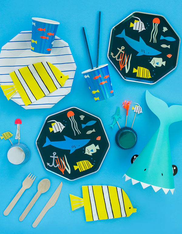 boy's under the sea shark themed birthday party tableware inspiration