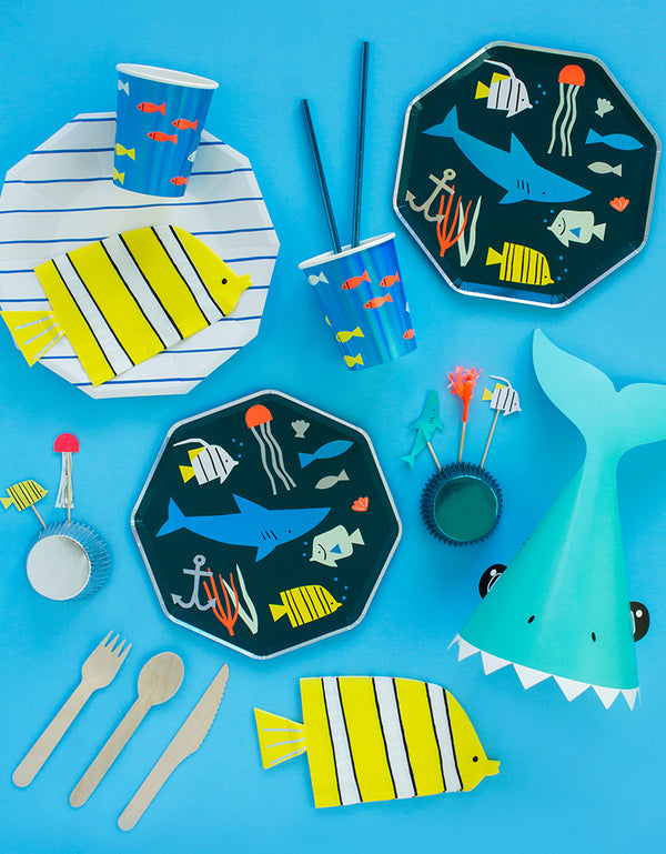 Under The Sea Party-ware Set with Under the sea paper plates, paper Cups and Fish shaped napkins, shark party hat. cupcake kit