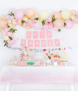 Pastel tea party box themed party table set up look