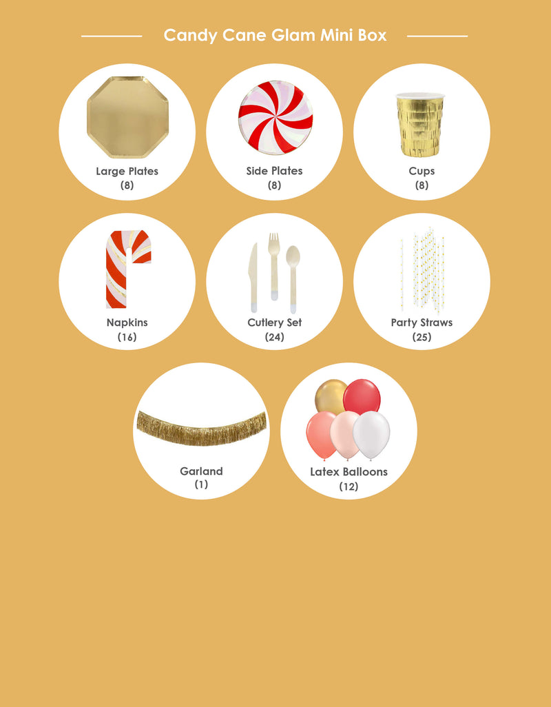 Product List of Momo party Christmas Holiday Candy Cane Glam Box. Modern Party Goods in the Box included Meri Meri Gold Large Dinner Plates, Peppermint Swirl Side Plates, Gold Fringe Party Cups, Candy Cane Napkins, Silver Wooden Cutlery Set, Gold Star Party Straws, Gold Tinsel Fringe Garland and Candy-cane-glam themed large 11-inch latex balloons for a Modern cute holiday party. Sold by Momo party store provided modern party supplies, boutique party supplies, chic holiday party supplies