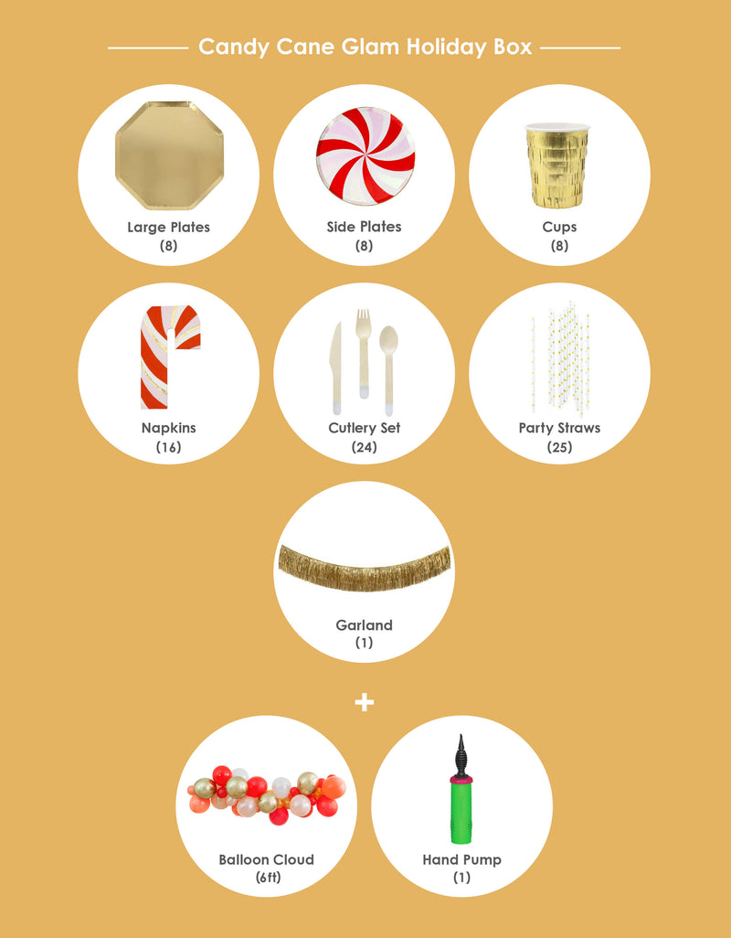 Product List of Momo party Christmas Holiday Candy Cane Glam Box. Modern Party Goods in the Box included Meri Meri Gold Large Dinner Plates, Peppermint Swirl Side Plates, Gold Fringe Party Cups, Candy Cane Napkins, Silver Wooden Cutlery Set, Gold Star Party Straws, Gold Tinsel Fringe Garland and Candy-cane-glam themed 6ft balloon garland for a Modern cute holiday party, Christmas Celebration. Sold by Momo party store provided modern party supplies, boutique party supplies, chic holiday party supplies