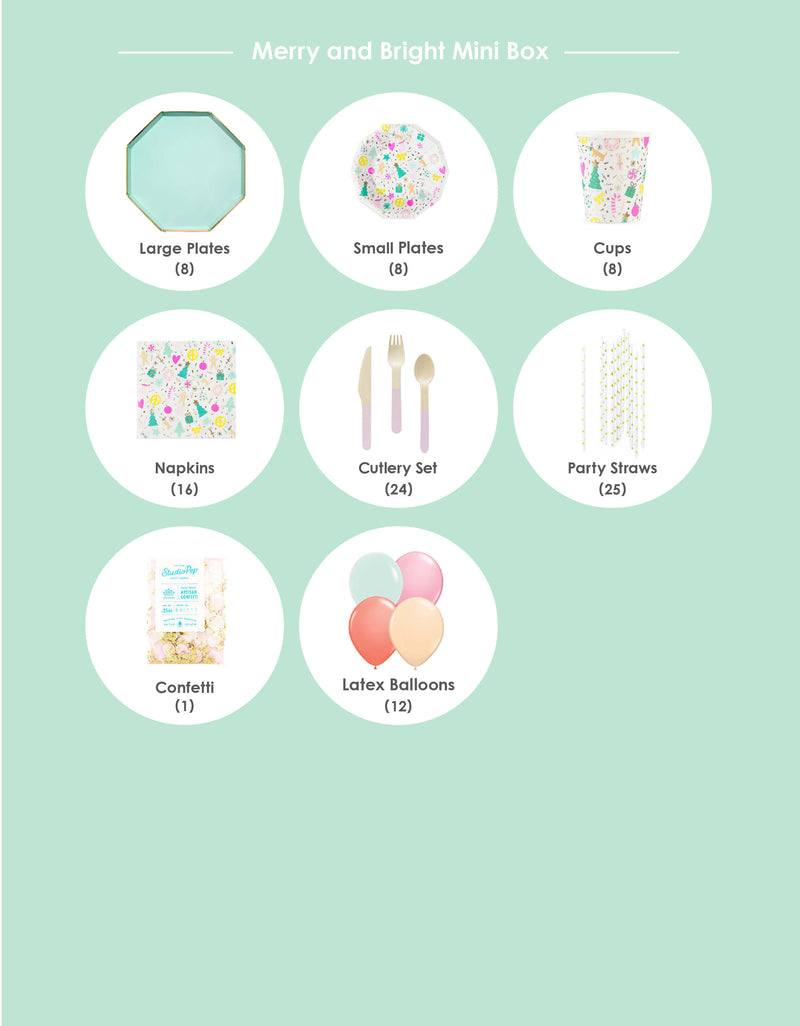 Product List of Modern Party Goods in a Box for a Merry and Bright Pastel color themed Christmas Party
