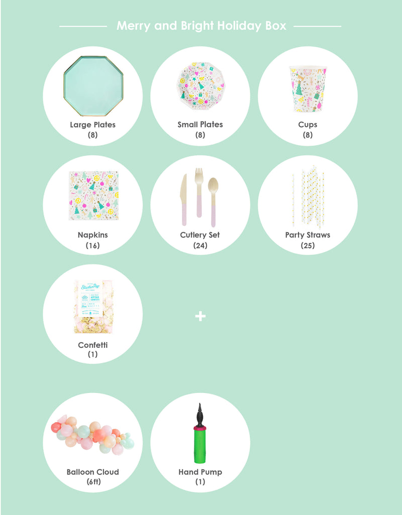 Itemized Product List of Modern Party in the Box, for a Merry and Bright, Pastel Color themed Christmas Celebration