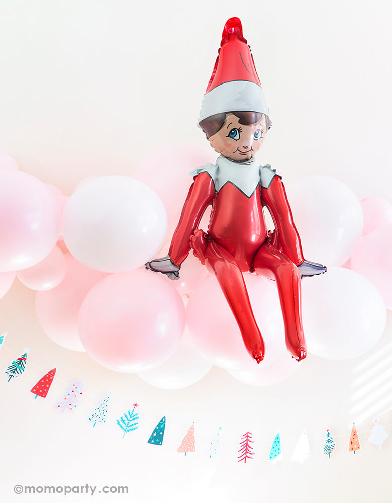 Christmas Sitting Elf on the Shelf Foil Mylar Balloon