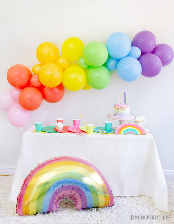 Momo party in a box, Rainbow Modern Party tablewares, Party Supplies, Party inspiration, Rainbow party look, kids Rainbow themed birthday party, Pride Party, Rainbow DIY home party