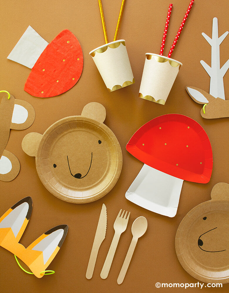 Momo Party Woodland Animal themed Party Box Tableware with Toadstool Large Plates, Bear Small Plates , Gold Scallop Cups, Toadstool Napkins, Wooden Cutlery Set, Woodland Party Straws in red polka dot and gold foil design, and Woodland Paper Animal Ears