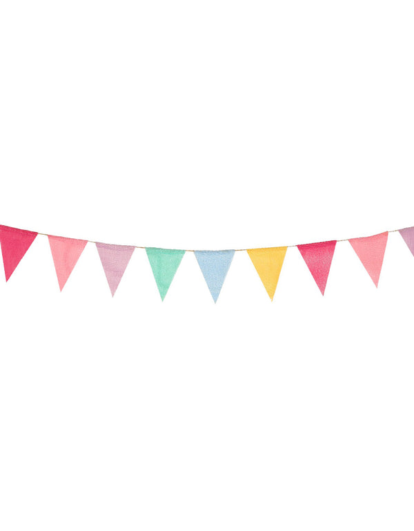 Multicolor Bunting linen Banner with in 12 flags with 6 cheerful colors including mint, blue, yellow, rose, pink and purple for baby shower, barnyard, circus party wall decorations