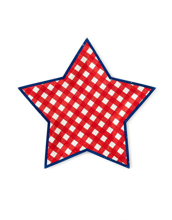 My Minds Eye - Blue And Red Plaid Star Shaped Plates. A simple vintage look of Star shaped paper plate with Red Plaid design and navy blue on the edge. Make your 4th of July celebration extra festive with this adorable star plate