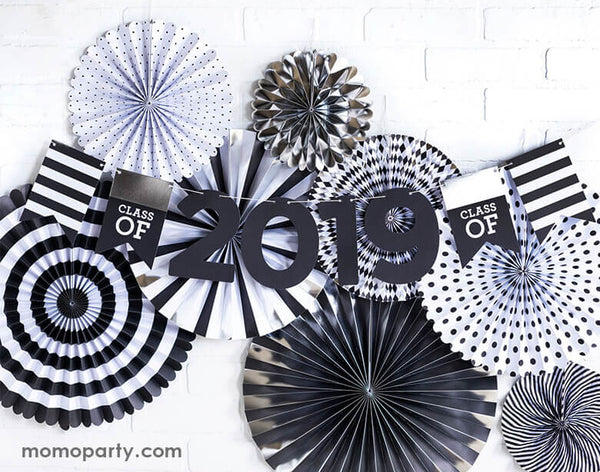 Graduation Party wall decoration with My Minds Eye Graduation Party Fan with Class of 2021 Banner layered on top. Celebrate your grad with this Class of 2021 word banner.
