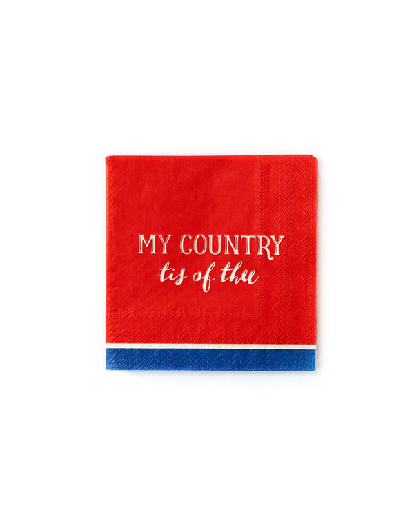 "My Minds Eye - My Country Tis of Thee Small Napkins. Pack of 25. Featuring a classic type of ""My Country Tis of Thee"" text printed on a red napkin with navy blue stripe on the bottom edge design. These napkins are also the best and most patriotic way to stop sticky fingers while enjoying popsicles at the parade."