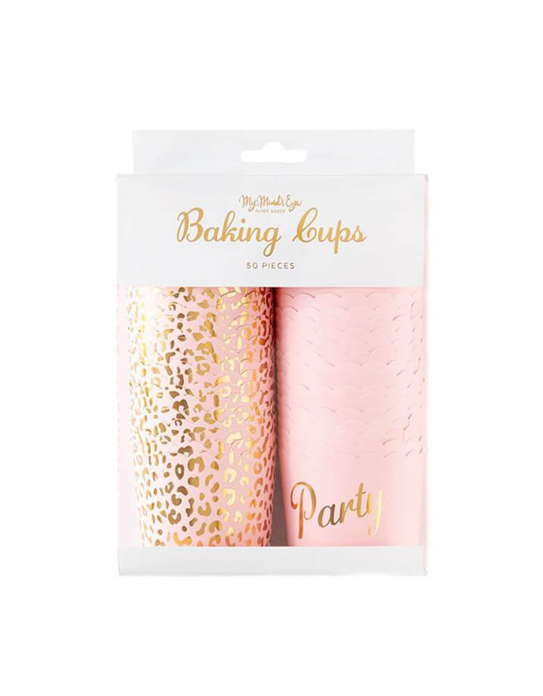"My Mind's Eye Pink Cheetah Baking Cups. Designed with gold foil cheetah pattern in pink cup, and another design with gold foil ""party"" letter on a pink cup. Pack of 50.  Size: 5 oz baking cups, They are perfect for holding candies and other party sweets, or dips and nuts. Great for a safari / animal themed birthday party, ""Tiger King"" party, wild one girls birthday"