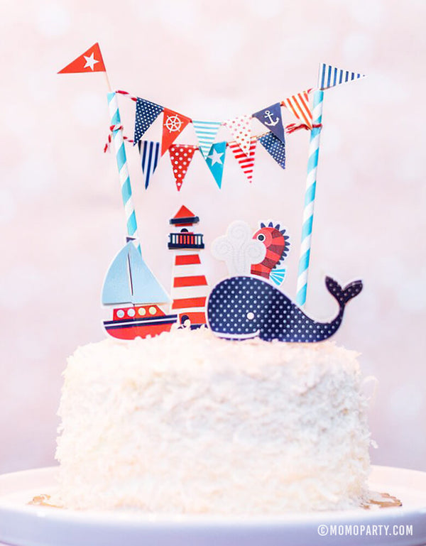 Cake with Party Partner - Ships Ahoy Cake Toppers of  whale, sailboat, seahorse, lighthouse designs in navy blue. 1st birthday party, baby boy shower. Sea themed birthday party, Nautical birthday party
