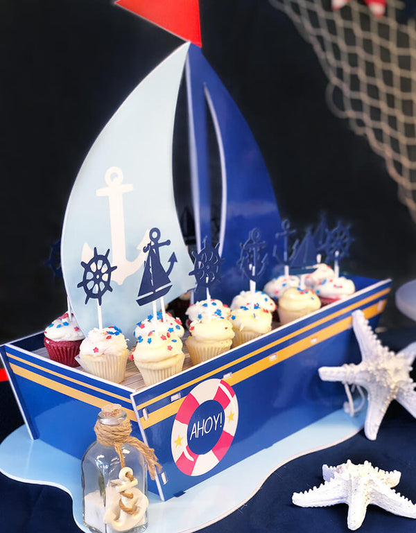 Nautical Cupcake Topper on the sailboat Cupcake stand