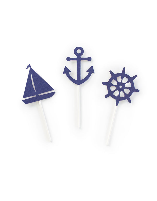 Nautical Cupcake Topper Set with  anchor, sailboat and ship wheel