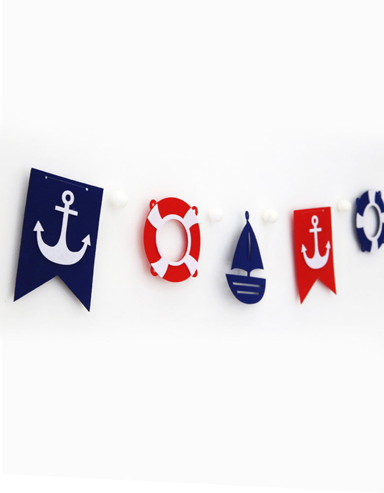 Mini Nautical Felt Garland Close up