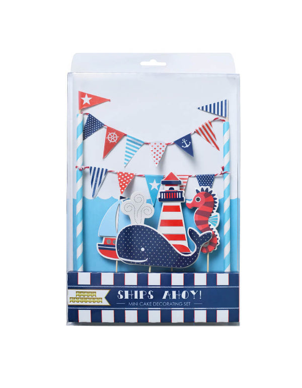 Party Partner - Ships Ahoy Cake Toppers, Set of 5 design, Featuring whale, sailboat, seahorse, lighthouse designs in navy blue/. 1st birthday party,  baby boy shower. Sea themed birthday party, Nautical birthday party