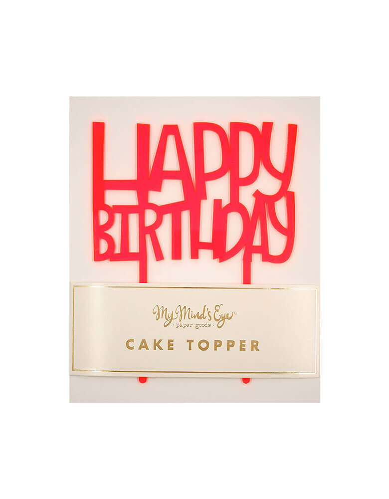 Neon Pink Happy Birthday Cake Topper