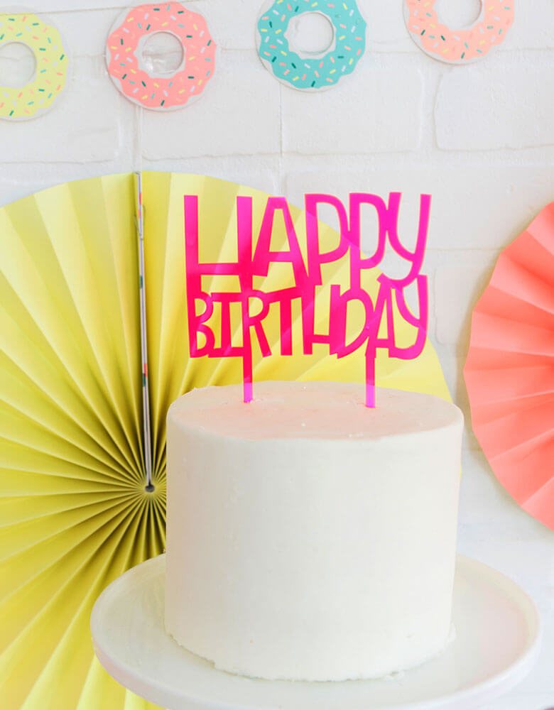 My Minds Eye Neon Pink Happy Birthday Cake Topper