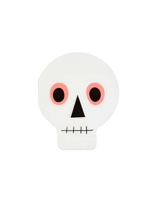 Meri Meri_Neon-Skull-Napkin,Set of 20, Momo Party Kids Halloween Party Supplies