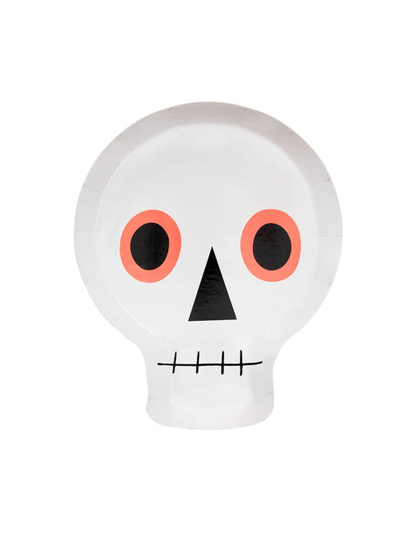 Meri Meri Neon Skull Plates. Featuring neon print detail, these die-cut skull plates are perfect for your little ghouls and ghosts. Modern party tableware for kids halloween party, skull party, nightmare before Christmas party, witch themed party and all halloween related celebrations