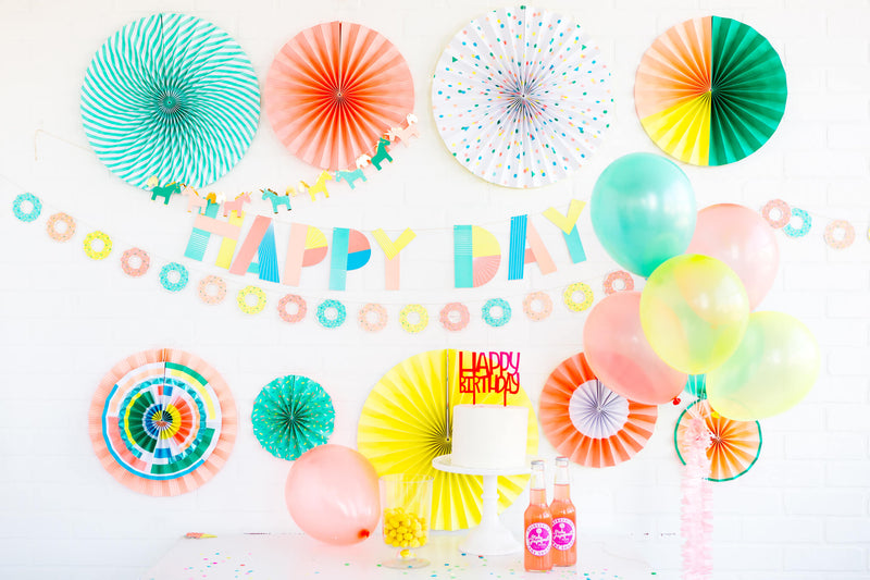 My Minds Eye Neon Paper Fans in a birthday party