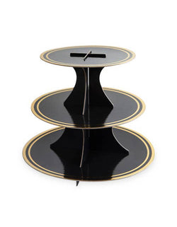 Cakewalk 3-tier Noir and Gold Paper Cake Stand