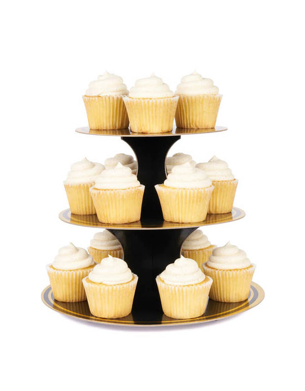 Cakewalk 3-tier Noir and Gold Paper Cake Stand with cupcakes