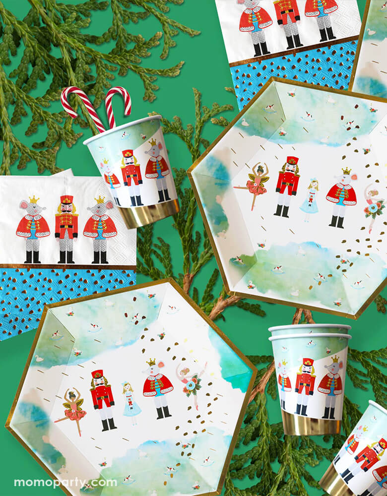 Crated party, Nutcracker themed Holiday Party with Nutcracker Holiday Party plates, napkins and Cups over a green background. with the characters of Nutcracker, lifelike characters and other popular Christmas elements, such as Xmas trees, candy canes for your holiday home celebration and your home and party