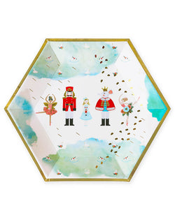 Crated party, Nutcracker Holiday Party plates, featuring classic whimsical characters of the Nutcracker, Mouse King, Sugar Plum Fairy, Clara, Ballet and lovely ballerinas with beautiful hand-illustrated and gold foil details. Adding these Festive, joyful and sturdy paper plates in the evergreen Nutcracker theme paper plates to set a scene worthy of a standing ovation for your kids christmas party, Nutcracker christmas party, holiday celebration, Perfect for all types of holiday celebrations