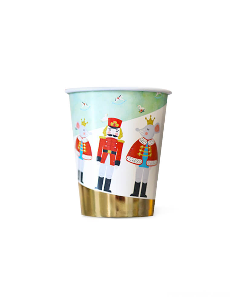 Crated party, Nutcracker Holiday Party cup, featuring whimsical designs of the Nutcracker, Mouse Kings with beautiful hand-illustrated and gold foil details. cute special party supplies to set a scene worthy of a standing ovation for your kids christmas party, Nutcracker christmas party, holiday celebration