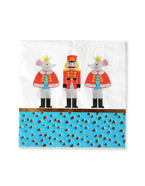 Crated party, Nutcracker Holiday Party Napkins, featuring classic Nutcracker characters, With whimsical designs of the Nutcracker, Mouse King print, adding these cute special party supplies to set a scene worthy of a standing ovation for your kids christmas party