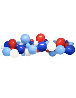 "Blue Red White Latex Balloon Garland Assorted 11"" (large) & 5"" (small) nautical-themed latex balloons, made in USA. Balloon Garland, Backdrop, wall Decorations for Nautical Party and 4th of July Celebration, Nutical birthday party, 1st boy birthday party"