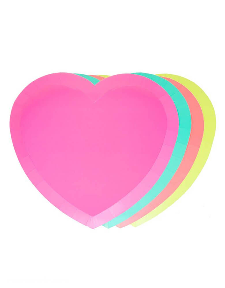 Neon Hart Shaped Plates by Oh Happy Day in pink, green, coral, and yellow
