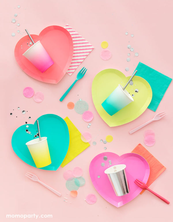 I Heart Neon Heart Shaped Plates (Set of 8)