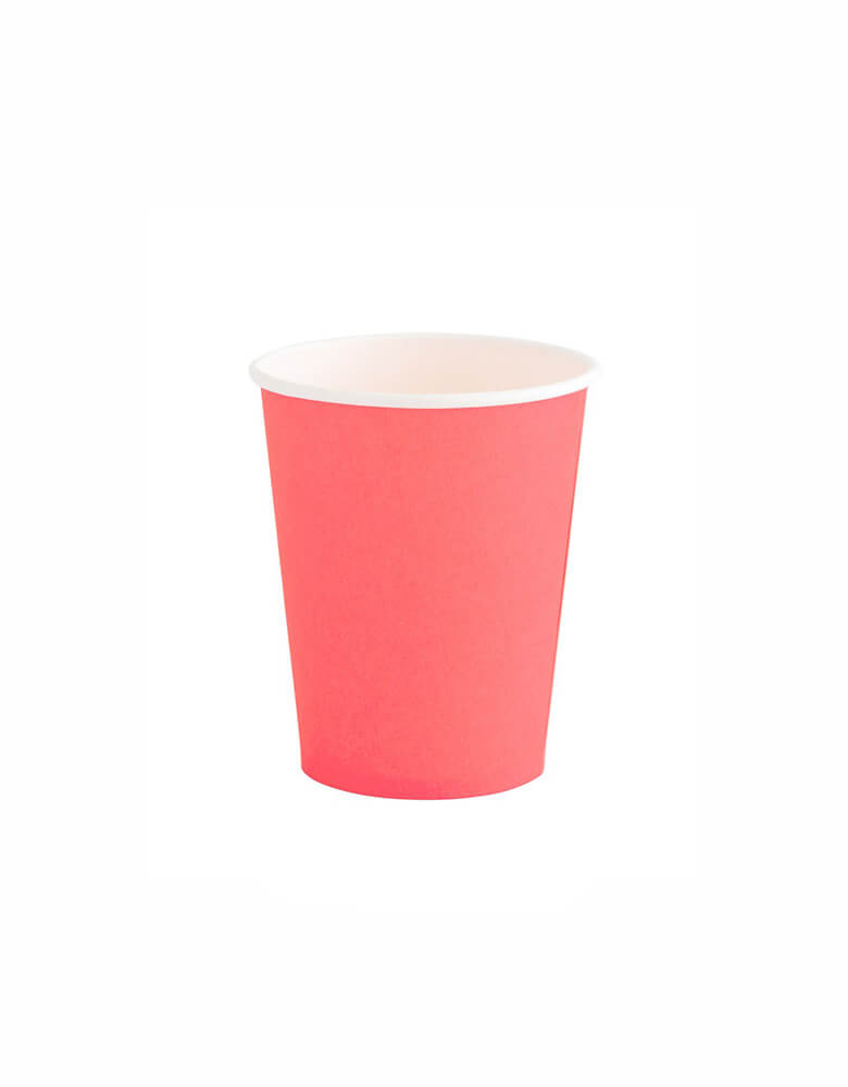 OH happy Day Rainbow cup in coral Color, these simply modern and chic Paper cups are eco-friendly, perfect for Rainbow Birthday party, Pride Celebration, Summer Party
