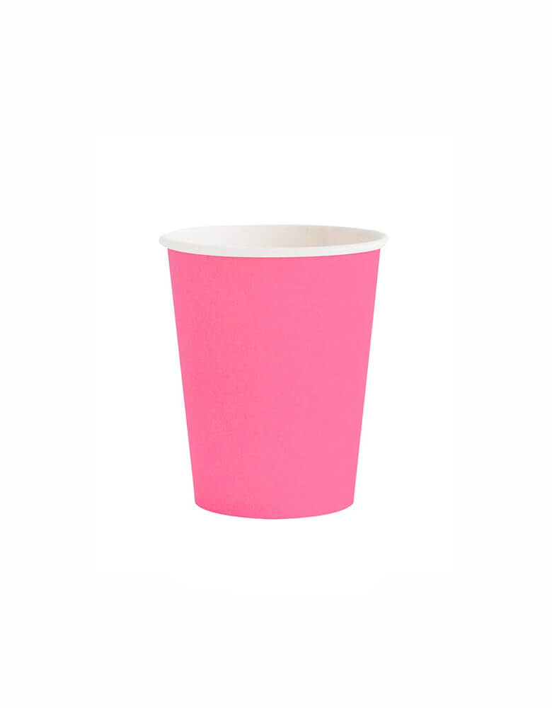 OH happy Day Rainbow cup in neon rose Color, these simply modern and chic Paper cups are eco-friendly, perfect for Rainbow Birthday party, Pride Celebration, Summer Party