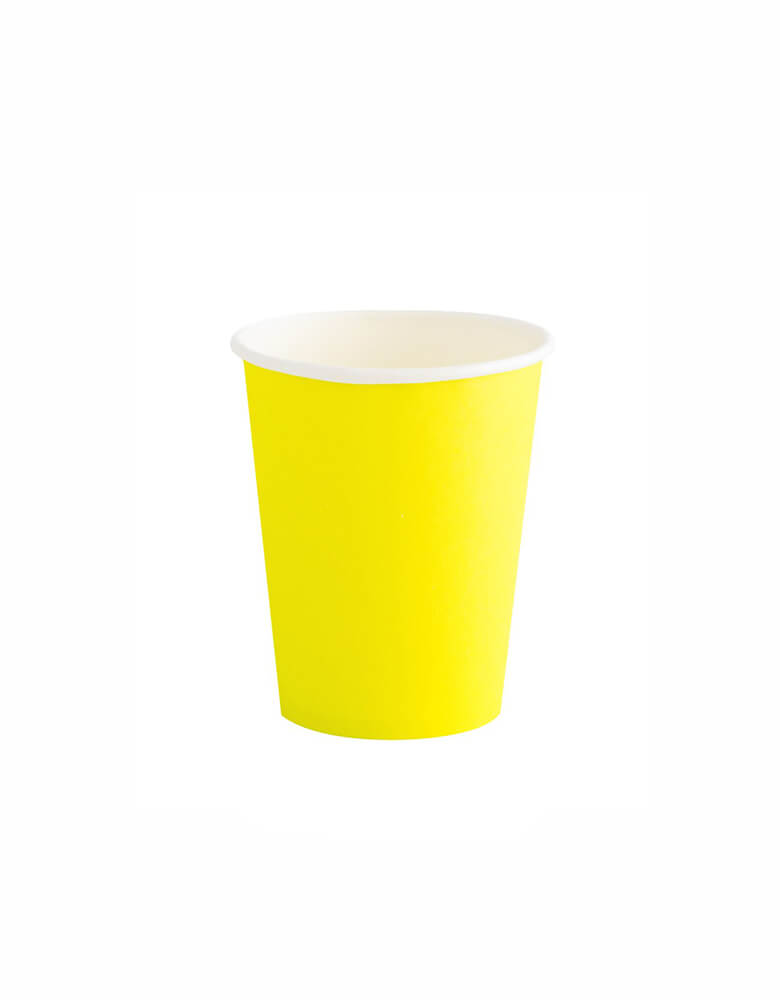 OH happy Day Rainbow cup in Neon Yellow  chartreuse yellow Color, these simply modern and chic Paper cups are eco-friendly, perfect for Rainbow Birthday party, Pride Celebration, Summer Party