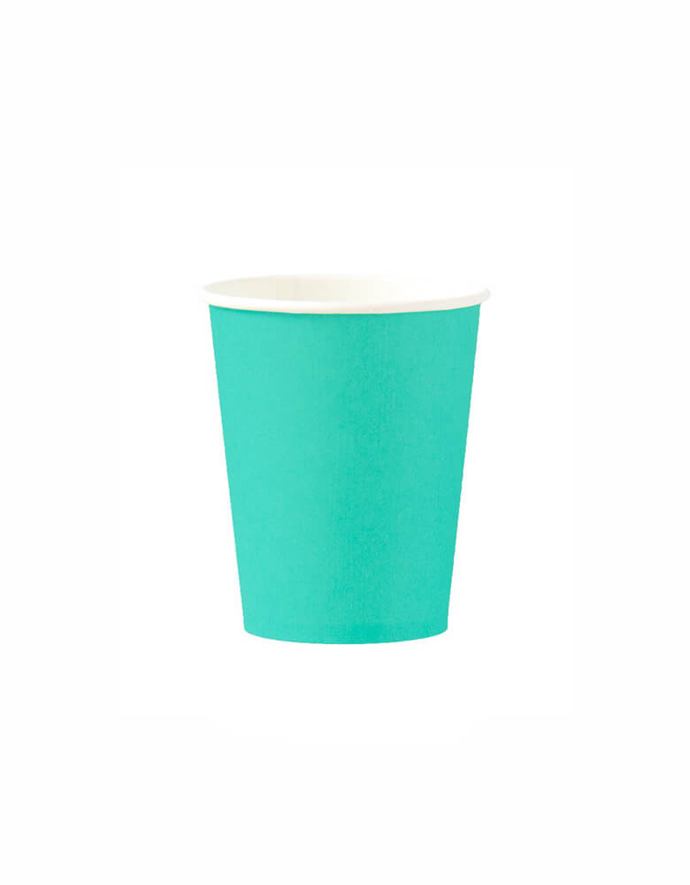 OH happy Day Rainbow cup in Teal Color, these simply modern and chic Paper cups are eco-friendly, perfect for Rainbow Birthday party, Pride Celebration, Summer Party
