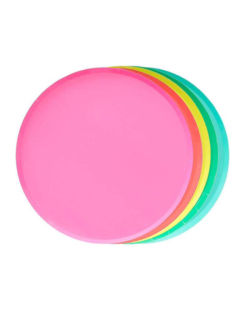 Oh Happy Day Large Paper Plates Set in Rainbow Colors