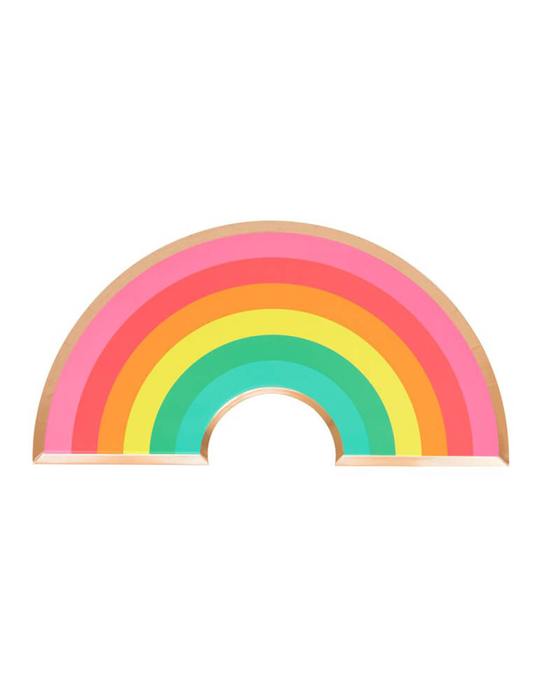 Oh Happy Day Rainbow plates,  Rainbow shape with gold foil edge, Pack of 8,  for Rainbow Themed Party