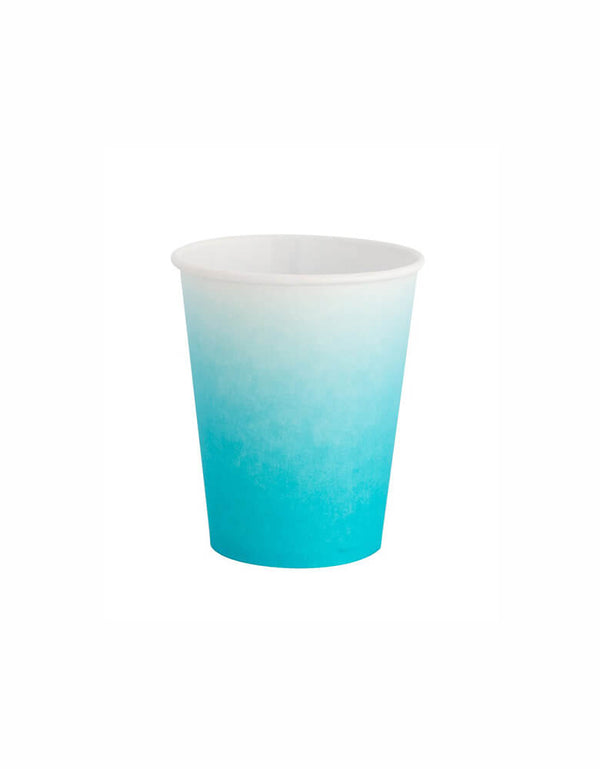 Oh Happy Day Sky Blue Ombre Paper Cups_Baby Boy Shower Ideas