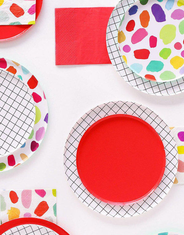 "Oh Happy Day Cherry Red 7"" Side Plate Layered with Black and White Grid 9"" Large Plates"