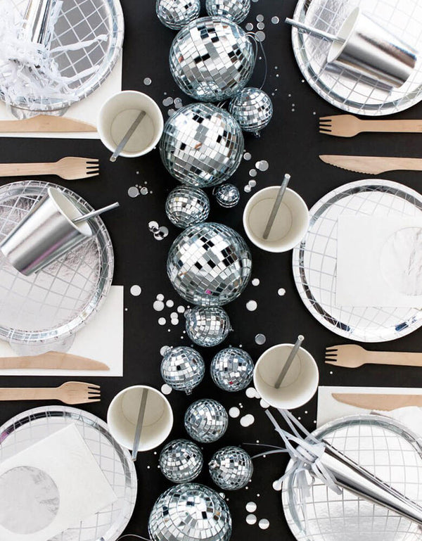 Oh Happy Day_Disco Party table featuring Disco Ball Plates, silver cups and napkins with multiple disco balls as centerpiece