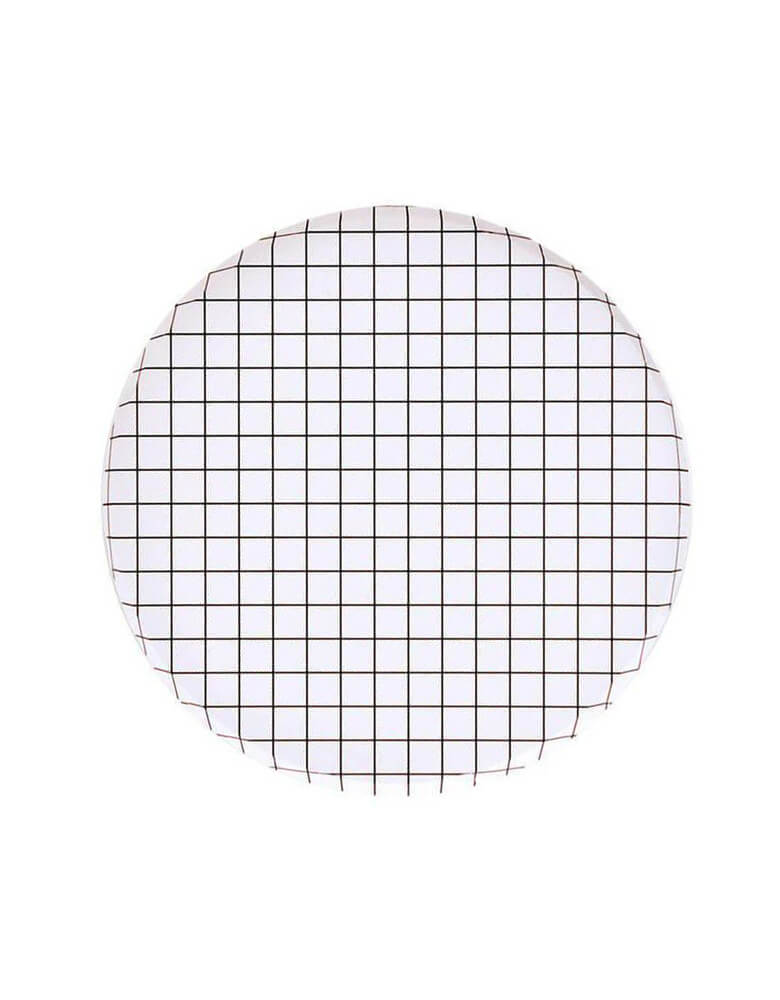 "Oh Happy Day 9"" Black And White Grid Large Plates"