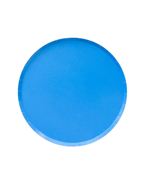 Blue Large Plates. Modern Party Paper Plates designed by OH happy Day. This is the 9 inch plates in 20 Solid colors - color: Pool.