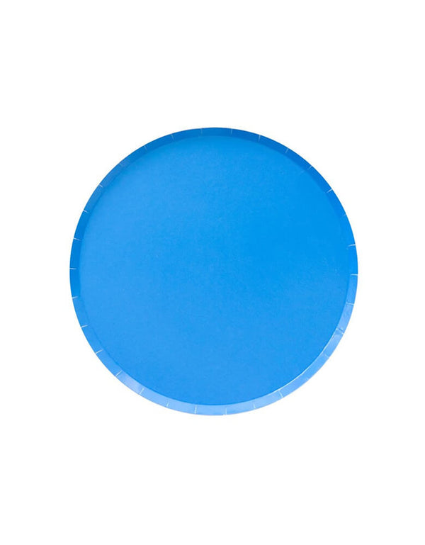 Blue Side Plates. Modern Party Paper Plates designed by OH happy Day. This is the 7 inch plates in 20 Solid colors - color: Pool.
