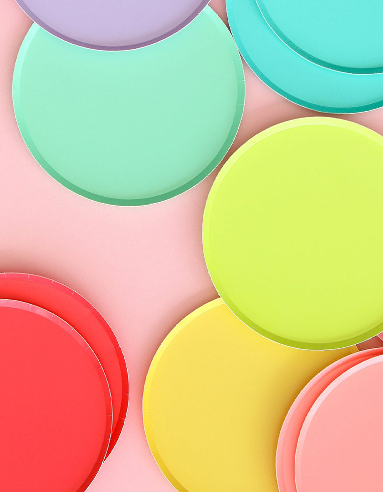 Close Up of Colorful Oh Happy Day Large Rainbow Paper Plates